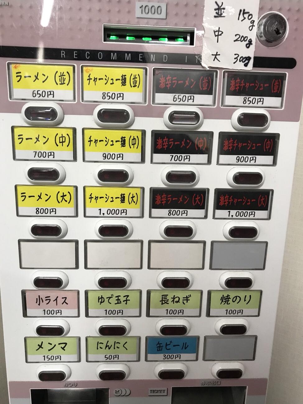 北大塚ラーメン メニュー